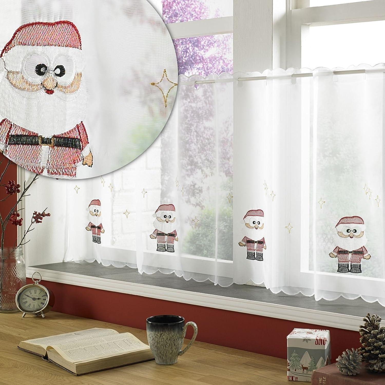 Babbo Natale tendina 149,9/x 61/cm goccia Babbo Natale ricamo.Tenda a pannello voile