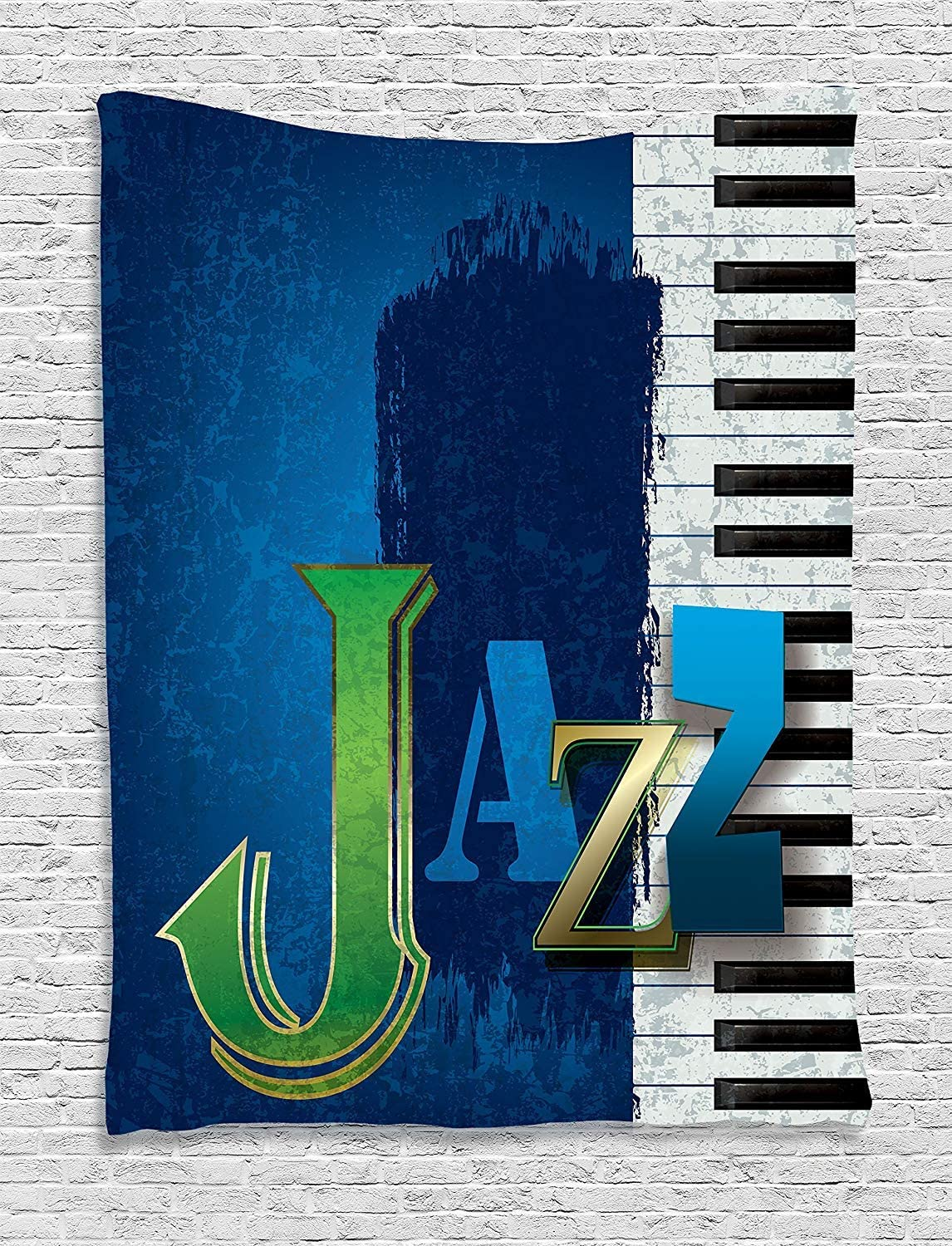 Ambesonne Jazz Music Tapestry, Abstract Cracked Jazz Music Background with Piano Keys Music Themed Print, Wall Hanging for Bedroom Living Room Dorm Decor, 40