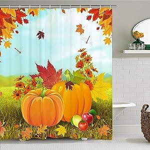 Thanksgiving Shower Curtain with 12 Hooks, Pumpkin Shower Curtain Maple Leaf Bath Curtain Orange Waterproof Shower Curtain