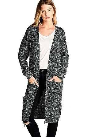 Amazon.com: OLLIE ARNES Women's Acrylic Knit Marled Longline ...