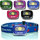 Brightest LED Headlamp - with Red Light - Blitzu i2 Headlight Flashlight for Kids, Men, Women. Perfect Waterproof Head Light For Running, Walking, Reading, Camping, Home Projects, Fun Toys & Emergency