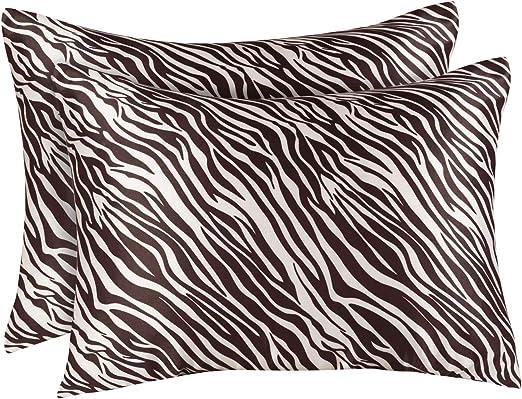 Pillowcase Set of 2 Standard Satin Pillowcase with Zipper White Blissford 4100SWHT2 Shop Bedding Luxury Satin Pillowcase for Hair