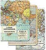 Cavallini Mini Notebooks Vintage Maps 4 x 5, 3 Mini Notebooks