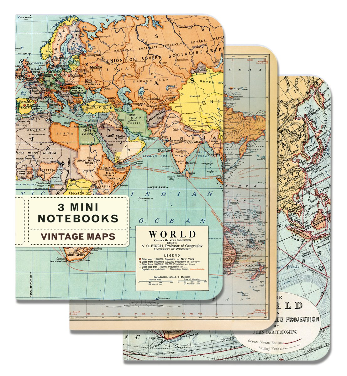 Vintage maps mini notebook cavallini company amazon vintage maps mini notebook cavallini company amazon office products gumiabroncs Choice Image