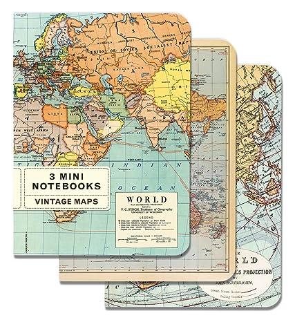 Amazoncom Cavallini Mini Notebooks Vintage Maps X Mini - Amazon maps