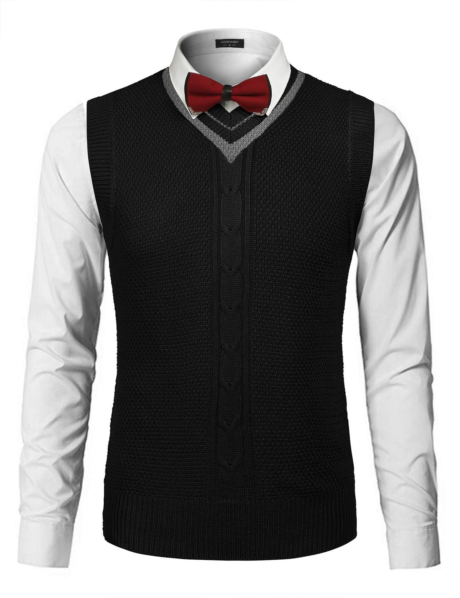 COOFANDY Men's Casual Knit Cotton Pullover Sleeveless Sweater Waistcoat Vest,Black,X-Large