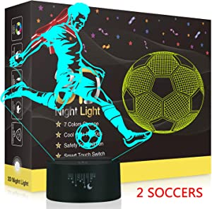 Football Rugby 3D Night Light, Rquite 2 Pattern Optical Illusion Lamps for Football Fans Boys Girls, 7 Color Change Decor Lamp for Kids Room, Favourite Gifts of Birthday Christmas Holidays Halloween