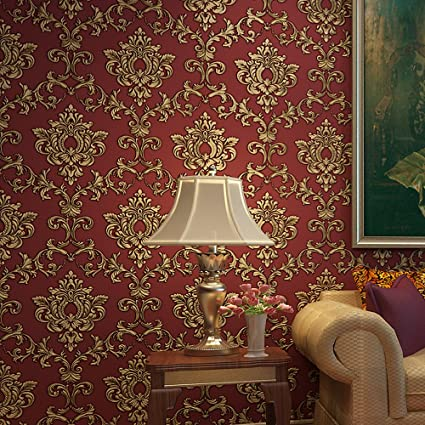 Blooming Wall Red Damasks Flocking Embossed Textured Wallpaper Roll For Livingroom Bedroom 208 In32