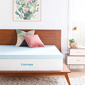 LINENSPA 3 Inch Gel Infused Memory Foam Mattress Topper