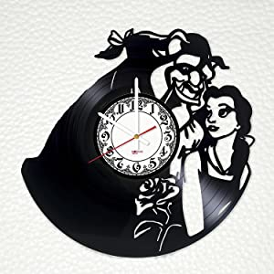 "Beauty and The Beast Romantic Vinyl Record Wall Clock - Get unique kids room or bedroom wall decor - Gift ideas for children, siblings, baby ??"" Fantasy Cartoon Unique Art Design"