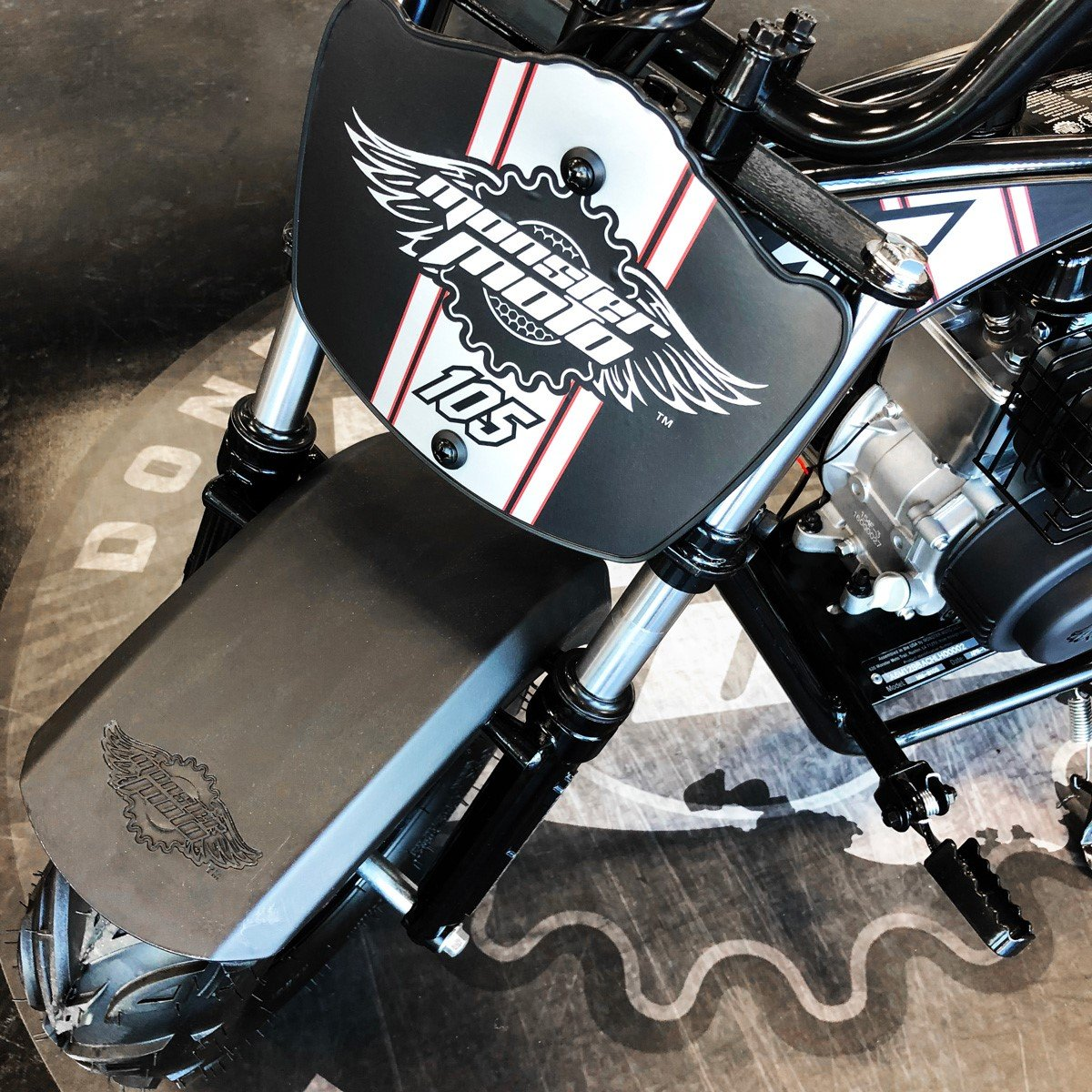 Monster Moto Limited Edition Black on Silver 105CC Mini Bike with Front Suspension-MM-B105-BBX by Monster Moto (Image #6)