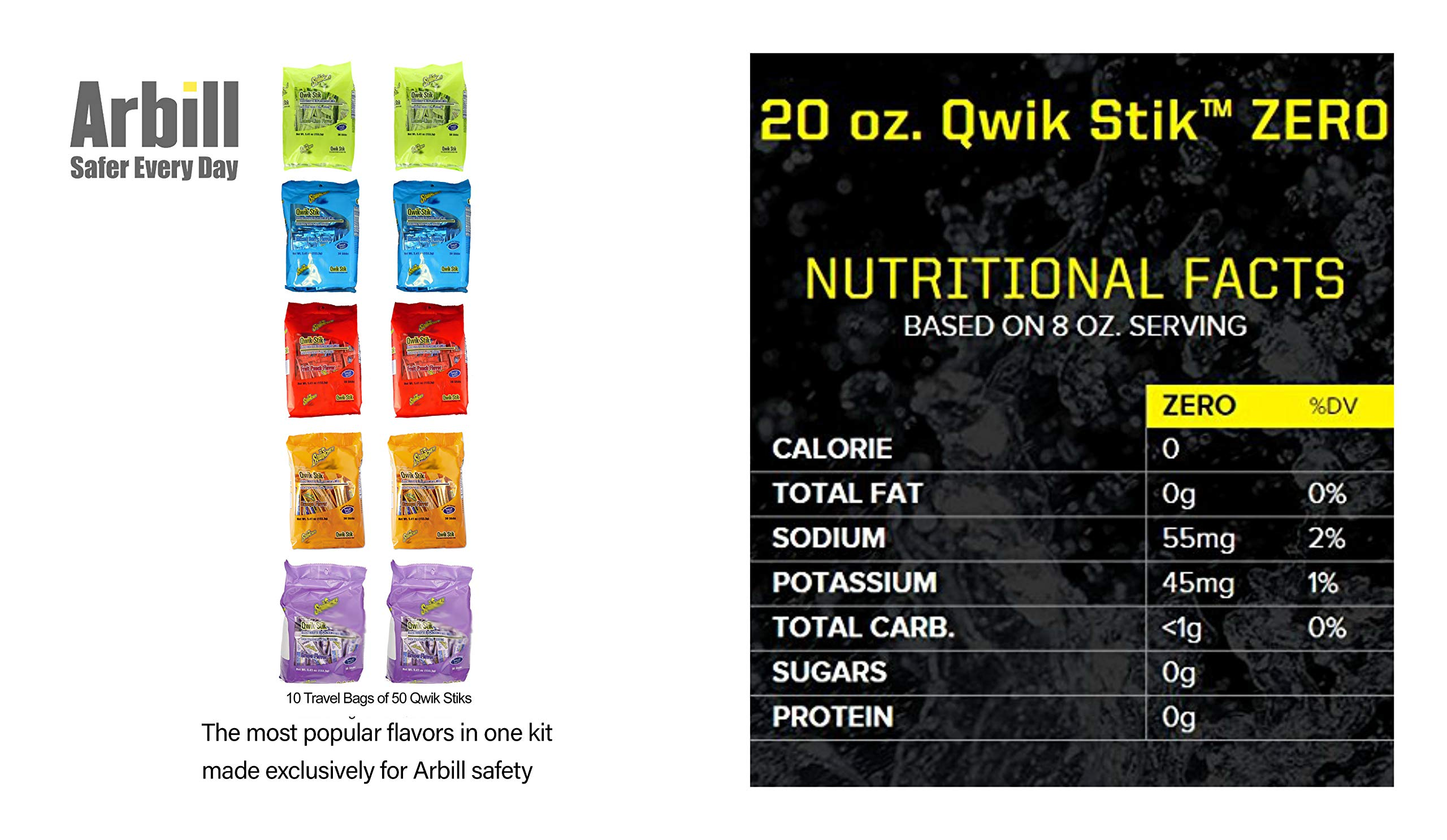 Sqwincher ZERO 5 Flavor Qwik Stik (500 Stik Assorted Pack) Sugar Free Electrolyte Powdered Beverage Mix by Sqwincher (Image #2)