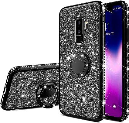 Surakey Compatible avec coque Samsung Galaxy S9 Plus Etui Silicone Paillette Brillante Bling Glitter Bumper Transparent Coque Silicone TPU Souple ...
