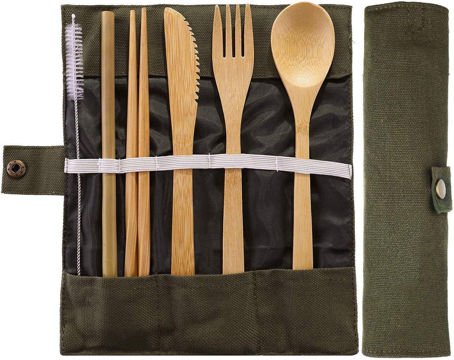 JZZJ Bamboo Travel Utensils Bamboo Cutlery Set Camping ...
