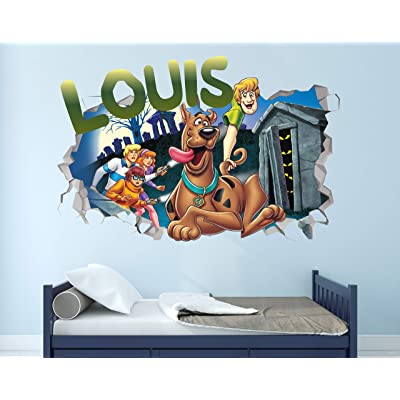 "Scooby Doo Custom Name 3D Personalized Wall Decal Sticker - Kids Wall Decor - Art Vinyl Wall Decal - MA297 (Small (Wide 22"" x 12"" Height)): Home & Kitchen"