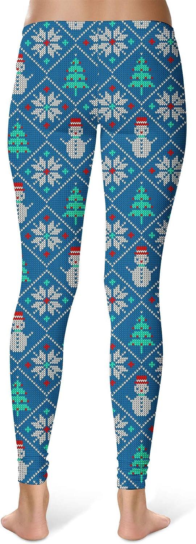 Rainbow Rules Sport Leggings Ugly Christmas Snowmen Pattern Mid Waist Full Length