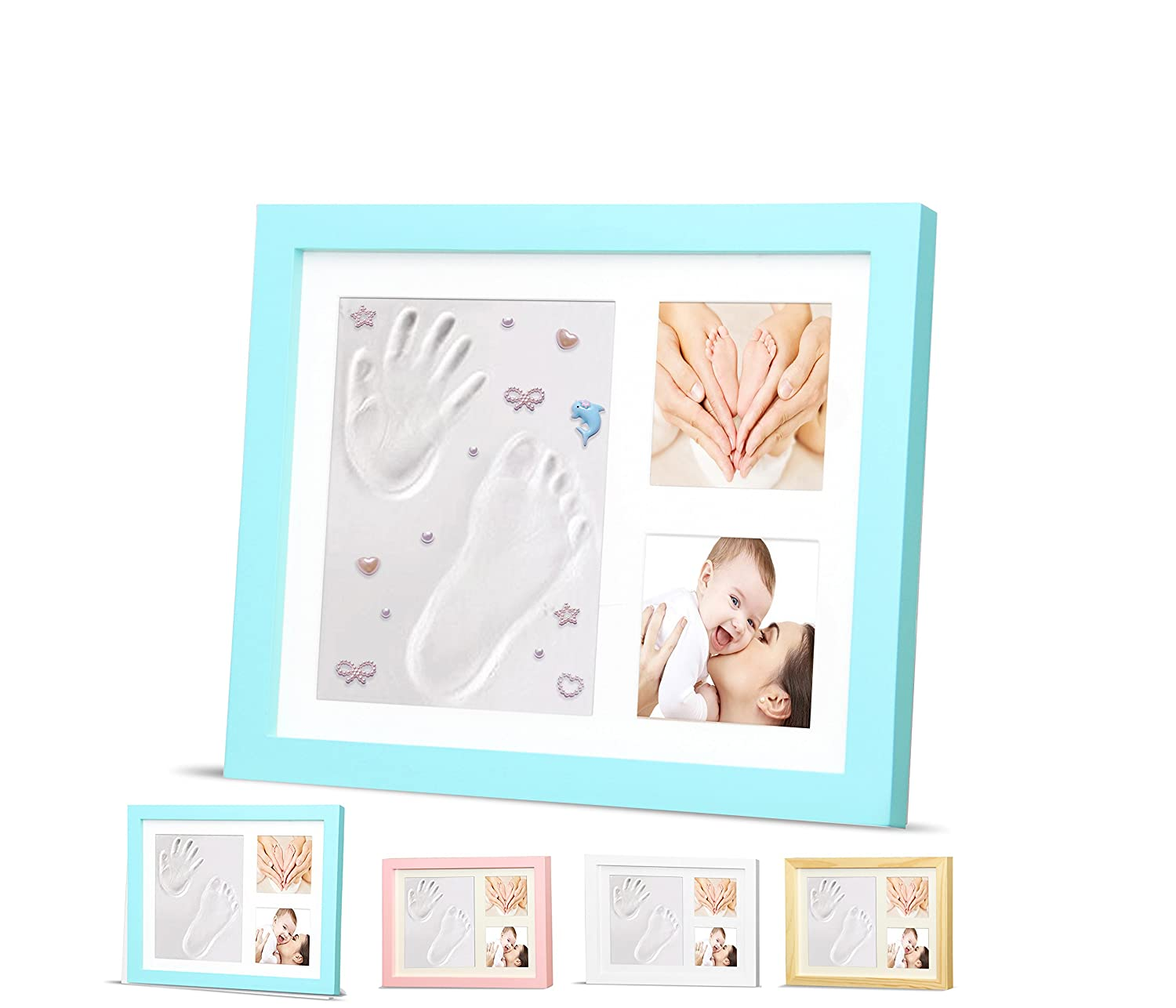 Ninos Baby Handprint, Footprint and Wooden Picture Frame Kit – Memory Maker for Growing Infants and Toddlers – Soft, Nontoxic Clay – Best Baby Shower or Maternity Gift (Pink)