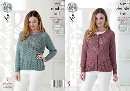 9fee6416b8a8 Image Unavailable. Image not available for. Colour  King Cole 4759 Knitting  Pattern Womens Raglan Sweater ...