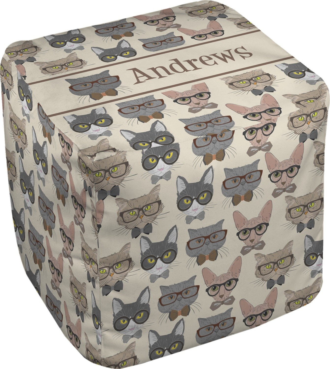 RNK Shops Hipster Cats Cube Pouf Ottoman - 13'' (Personalized)