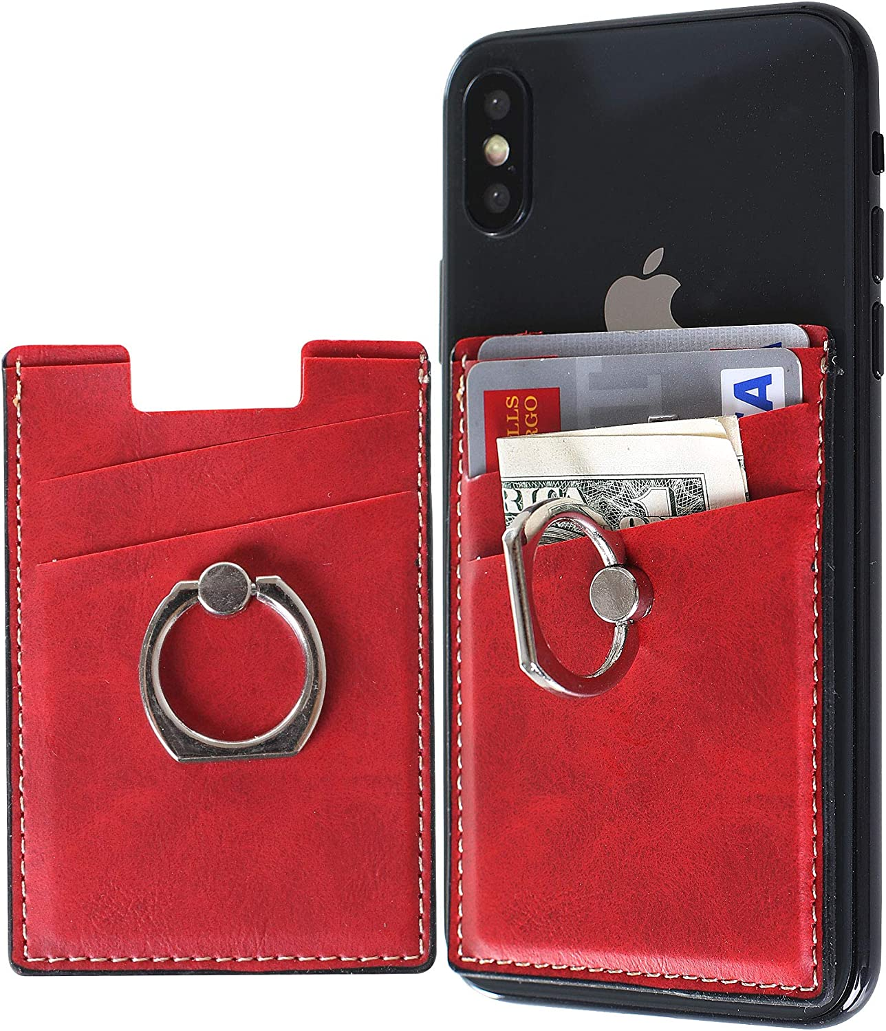 Card Holder for Back of Phone Wallet Stick on with Ring Stand, Adhesive Wallet Sticker Credit Card Holders Car Mount Magnetic Holder for iPhone and Cellphones (Red)
