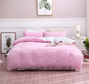 """YFX Weighted Blanket Cover 60x80 inches with 8 Ties/Minky,Pink&White,Pompoms Fringe, 57"""" Zipper on Long Side/Just Duvet Cover"""
