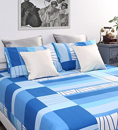 Dreamscape 100% Cotton Printed Bedsheet Set 7022 (Blue,Double)