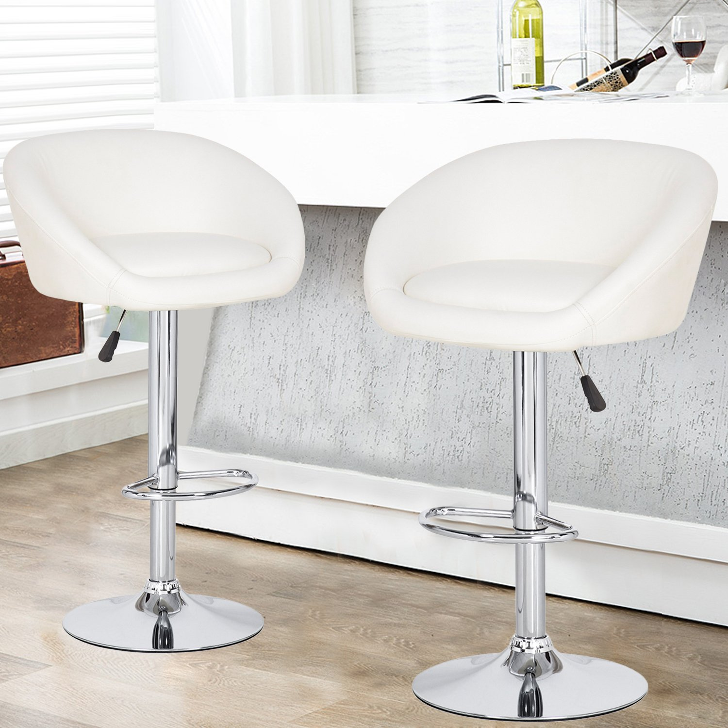 Joveco 360 Degree Swivel Adjustable Round Seat Barstool – Set of 2 White