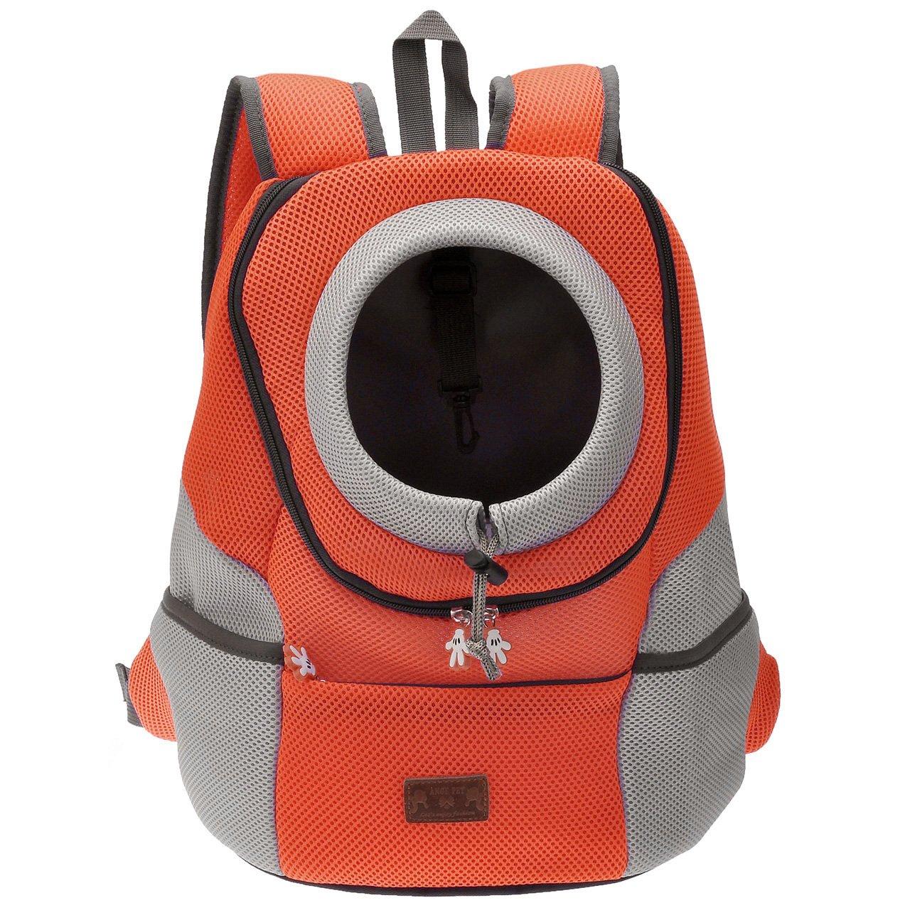 Mogoko Sac à Dos Sac de Transport Voyage pour Chien Chat Animeaux - Extérieur Léger Pratique Solide Durable Sécuritaire Confortable - Orange L