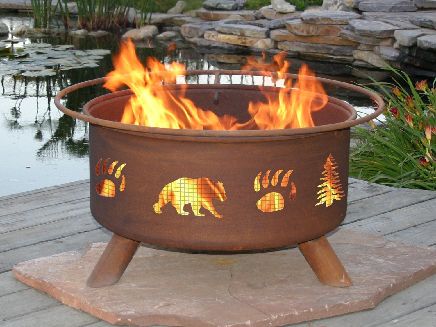 Amazon.com : Patina Products F107, 30 Inch Bear & Trees Fire Pit ...