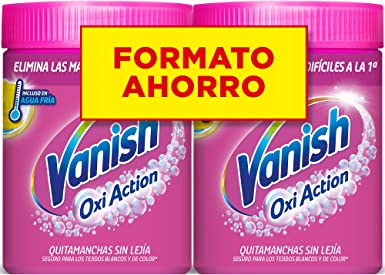 Vanish Oxi Action - Quitamanchas para Ropa Blanca y de Color, lavadora o remojo, en Polvo, Sin Lejía - Pack de 2 x 900 g