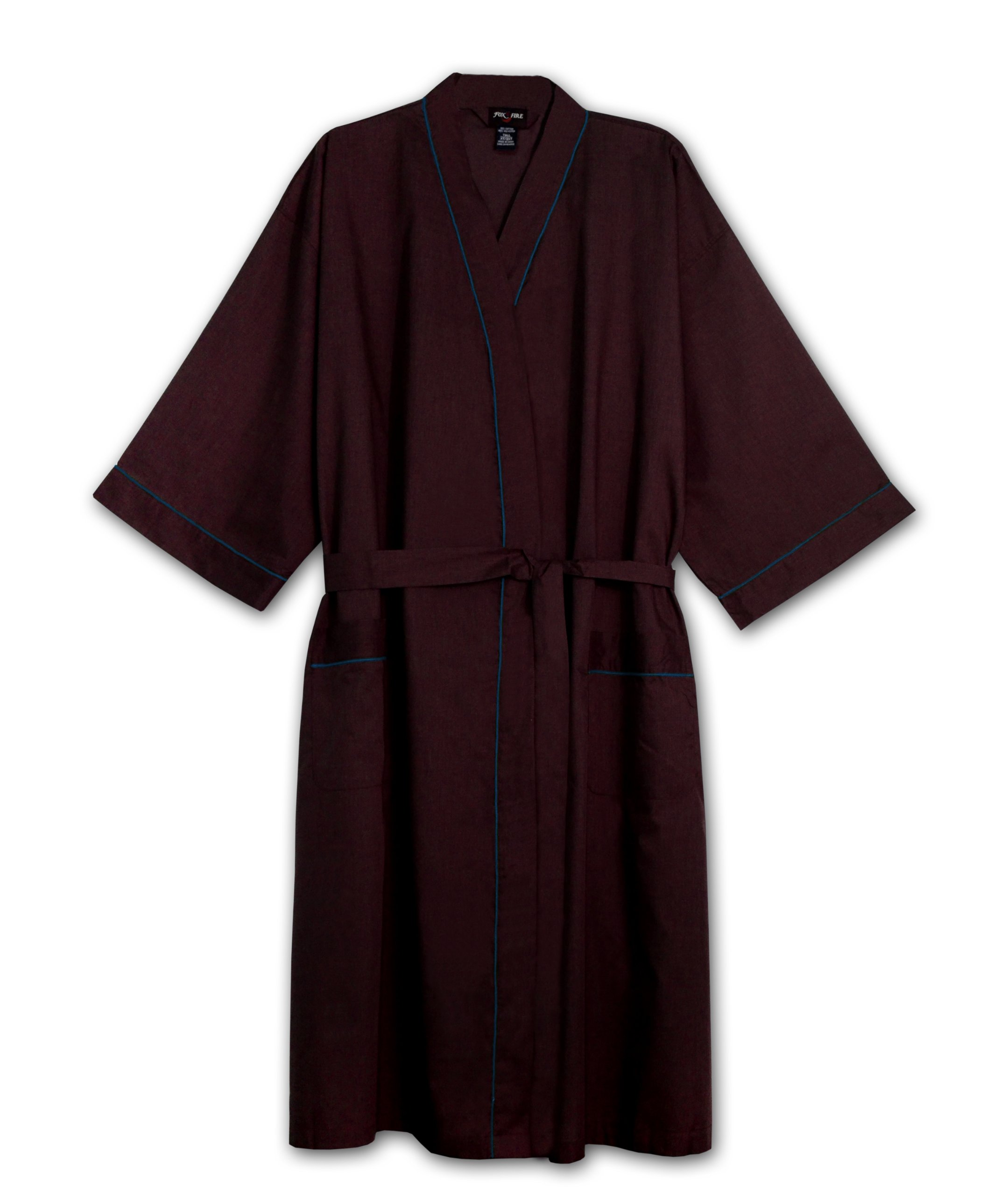 Foxfire Big Mens Light Weight Broadcloth Kimono Robe (BURGANDY 3/4X)