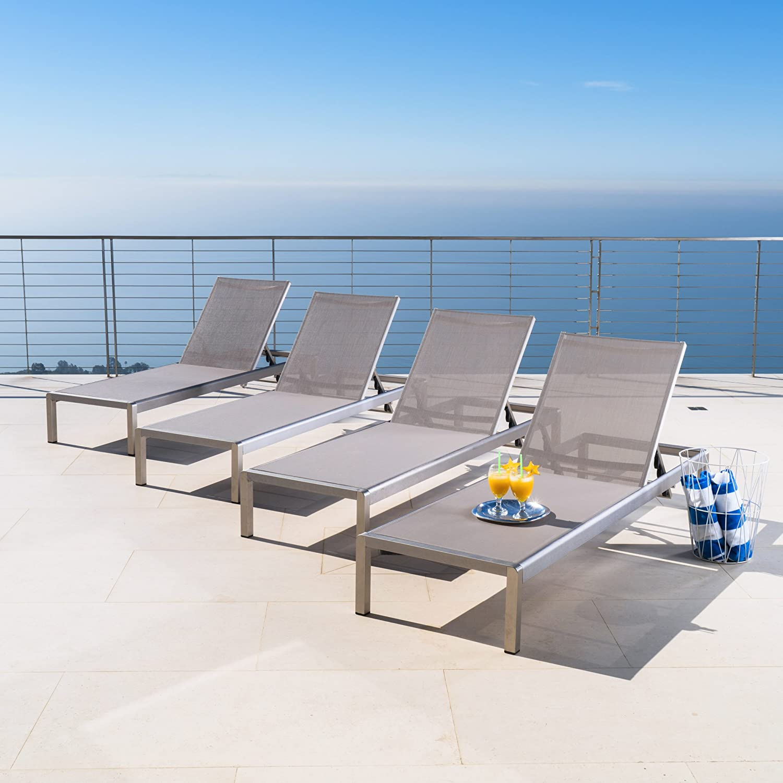 amazon com oxford garden travira aluminum and teak chaise lounge