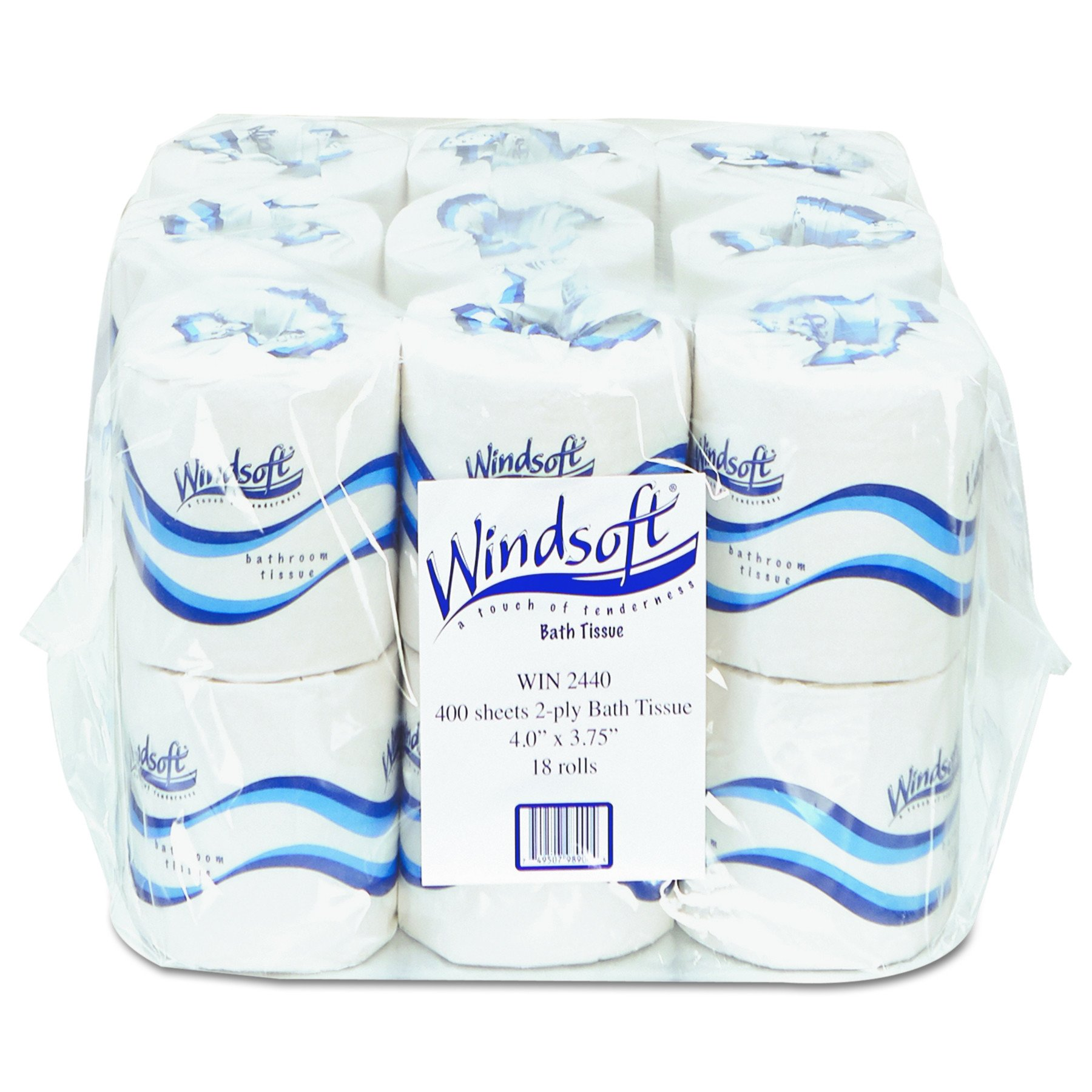 Windsoft WIN 2440 Embossed Bath Tissue, 2-Ply, White (Pack of 18)