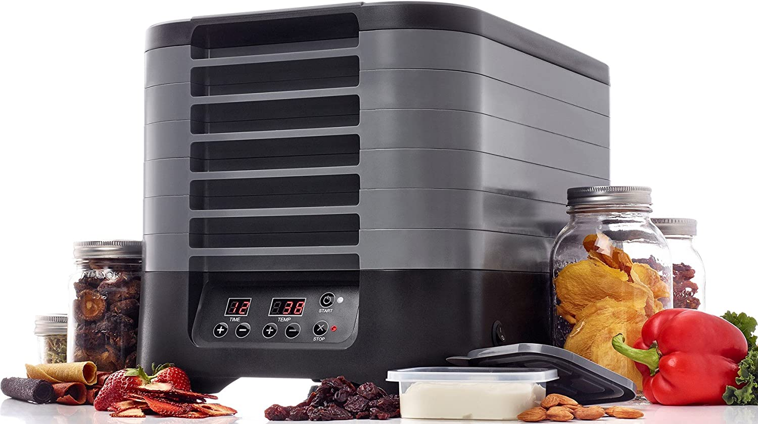 Excalibur STS60B 6-Tray Stackable Electric Food Dehydrator with Digital Control Featuring 48-Hour Timer Includes Mesh Screens Yogurt Cups and Drying Sheets, 6-Tray, Gray