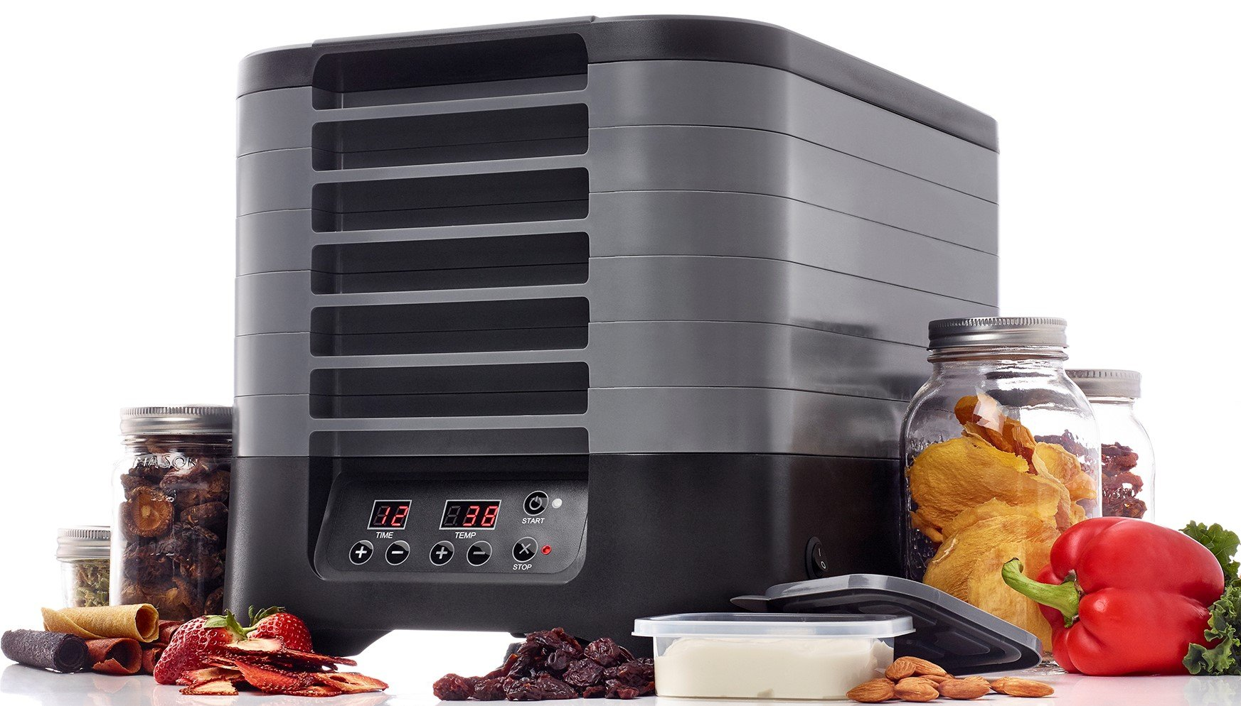 Excalibur STL60B STS60B Stackable Electric Food Dehydrator with Digital Control Featuring 48-Hour Timer Includes Mesh Screens Yogurt Cups and Drying Sheets, Gray