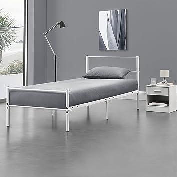 en.casa] Metallbett 90 x 200cm Weiß - Bettgestell Design Bett ...