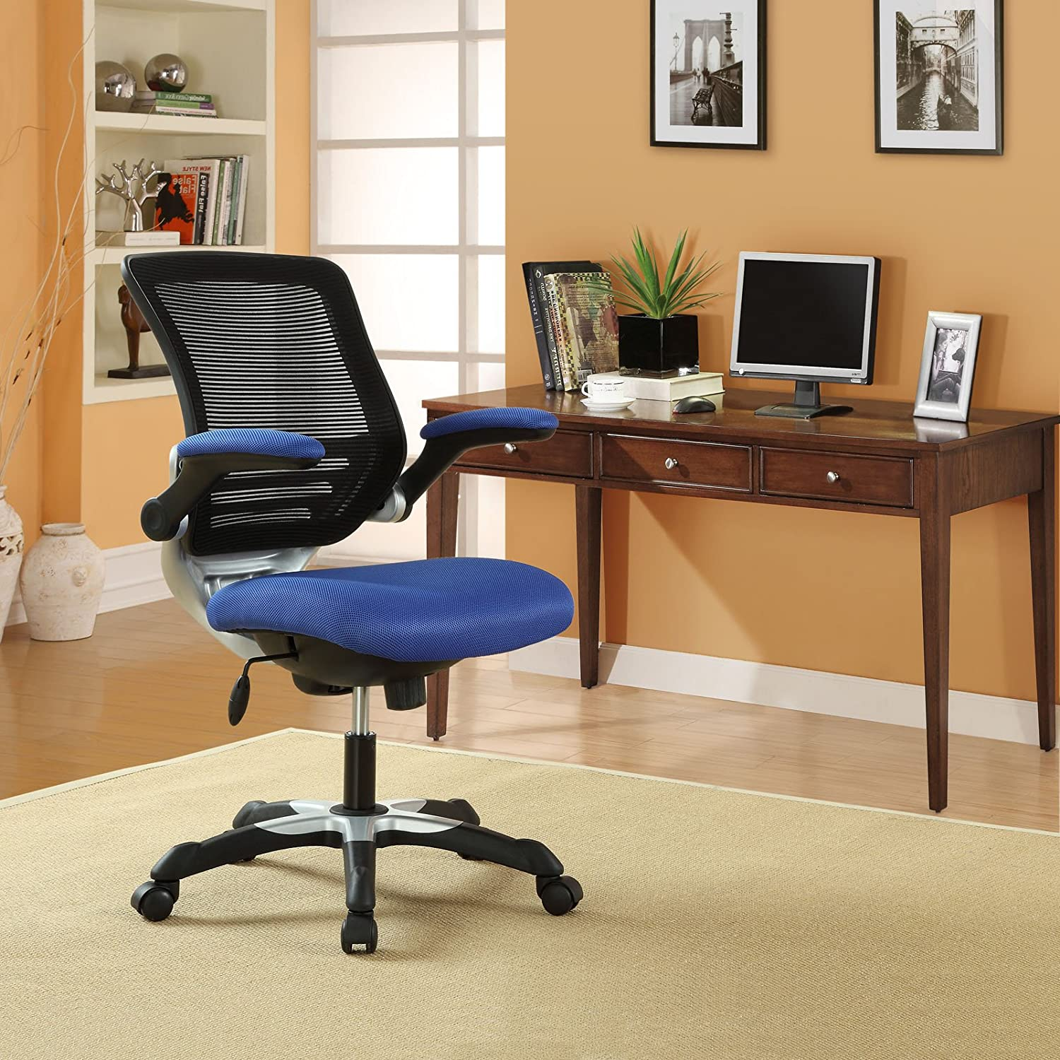 Modway Edge Mesh Back and Blue Mesh Seat Office Chair With Flip-Up Arms - Ergonomic Desk And Computer Chair