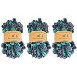 BambooMN Finger Knitting Yarn - Fun Finger Loops Yarn - 100% Polyester - Poseidon - 3 Skeins