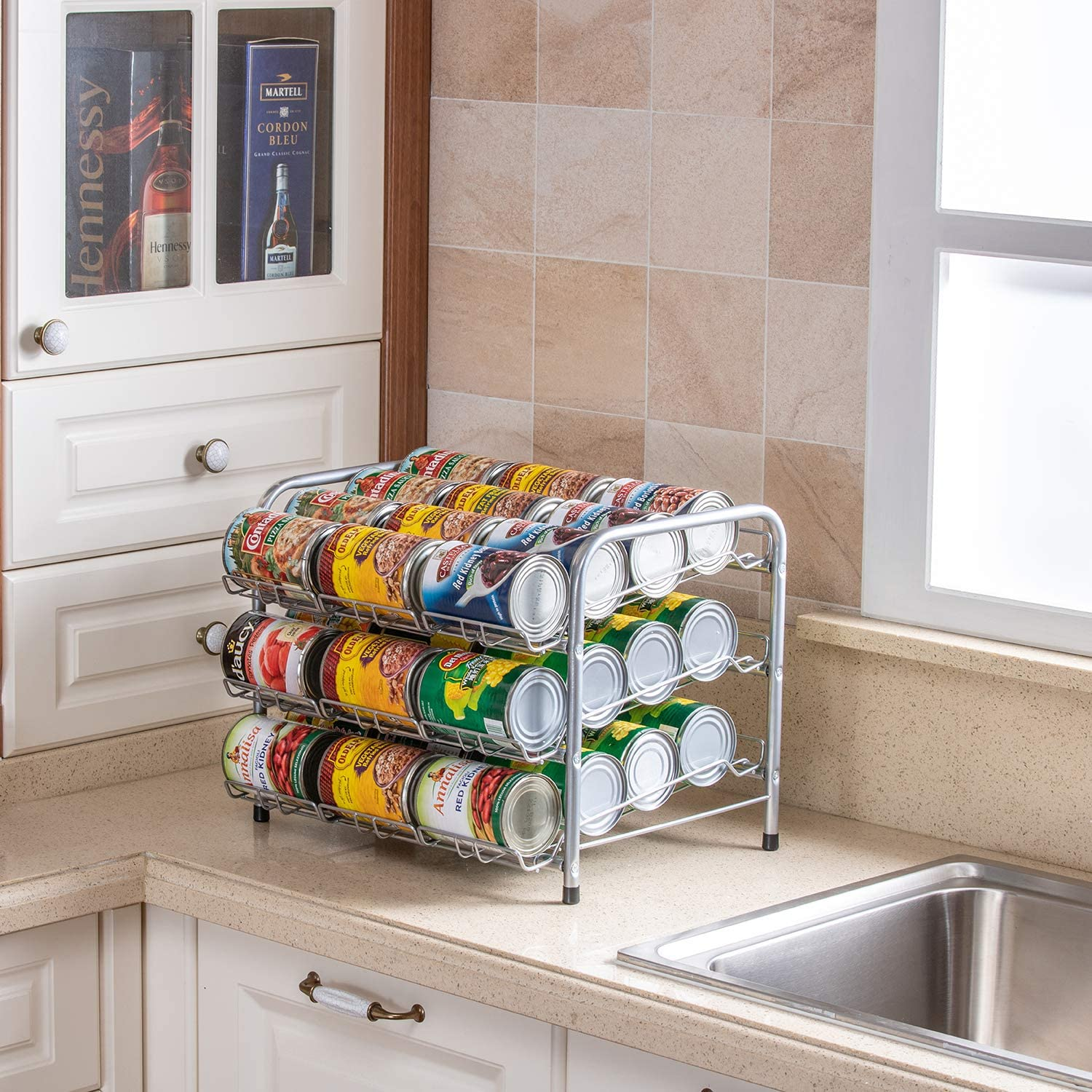 Rice rat Can Organizer for Pantry, Can Rack Can Storage Dispenser for Canned Foods (3-Tier Can)