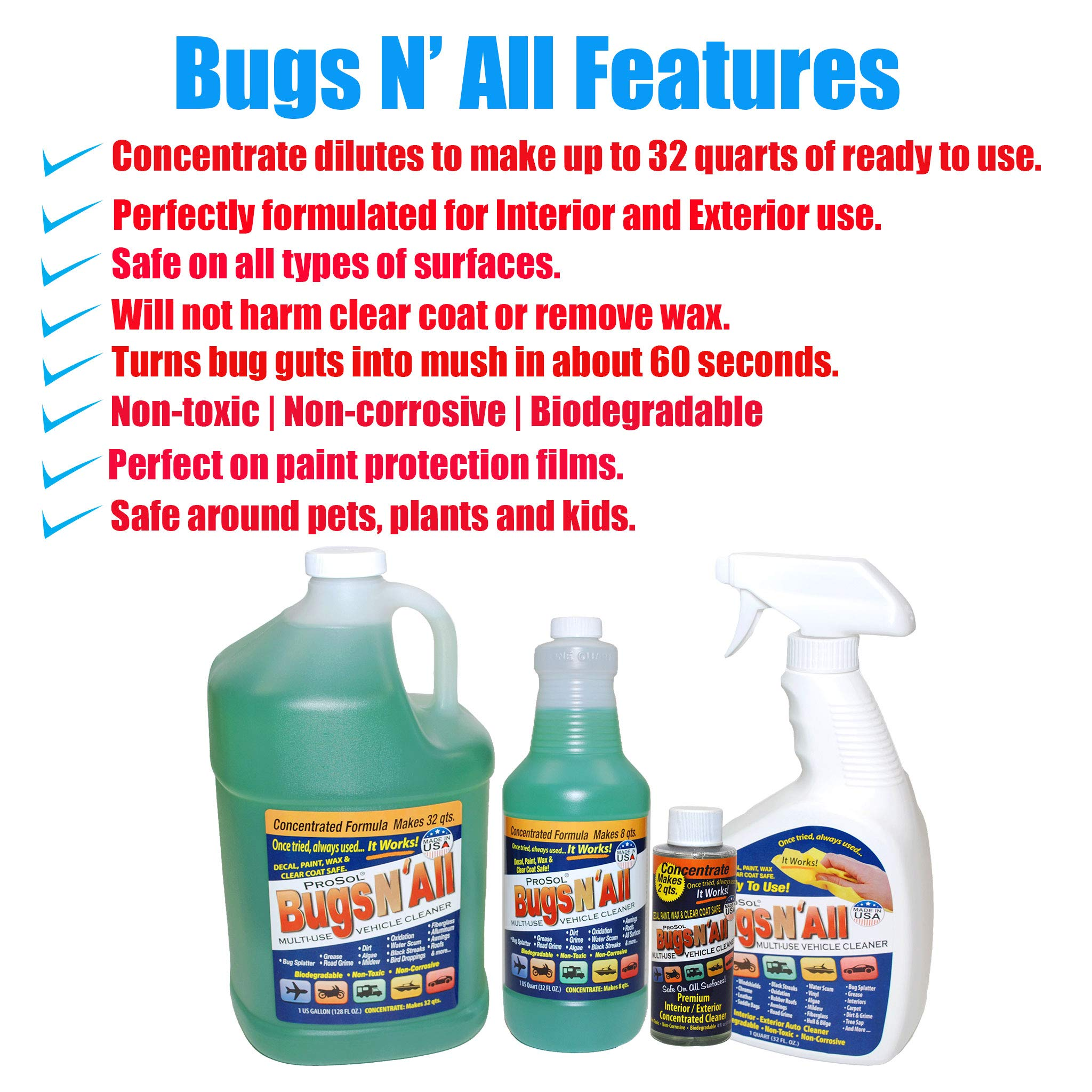 Bugs N All - Multi-Surface Vehicle Cleaner/Bug Remover. 1qt. Concentrate Makes 8 Quarts. Includes an Empty 1 Qt. Spray Bottle - Safe on Wax, Clear Coat, Paint, Decals and on All Surfaces. by ProSol (Image #9)