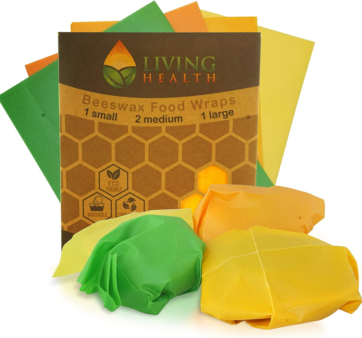 Living Health Beeswax Reusable Food Wrap (1 S, 2 M, 1 L) – Organic, Eco Friendly Wrapper – Keep Fruits, Vegetables, Leftovers Fresh – Alternative to Plastic Cling Wrap and Aluminum or Reynolds Wrap