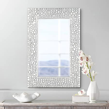 Noble Park Savla Textured Relief Silver 24 x 36 Wall Mirror