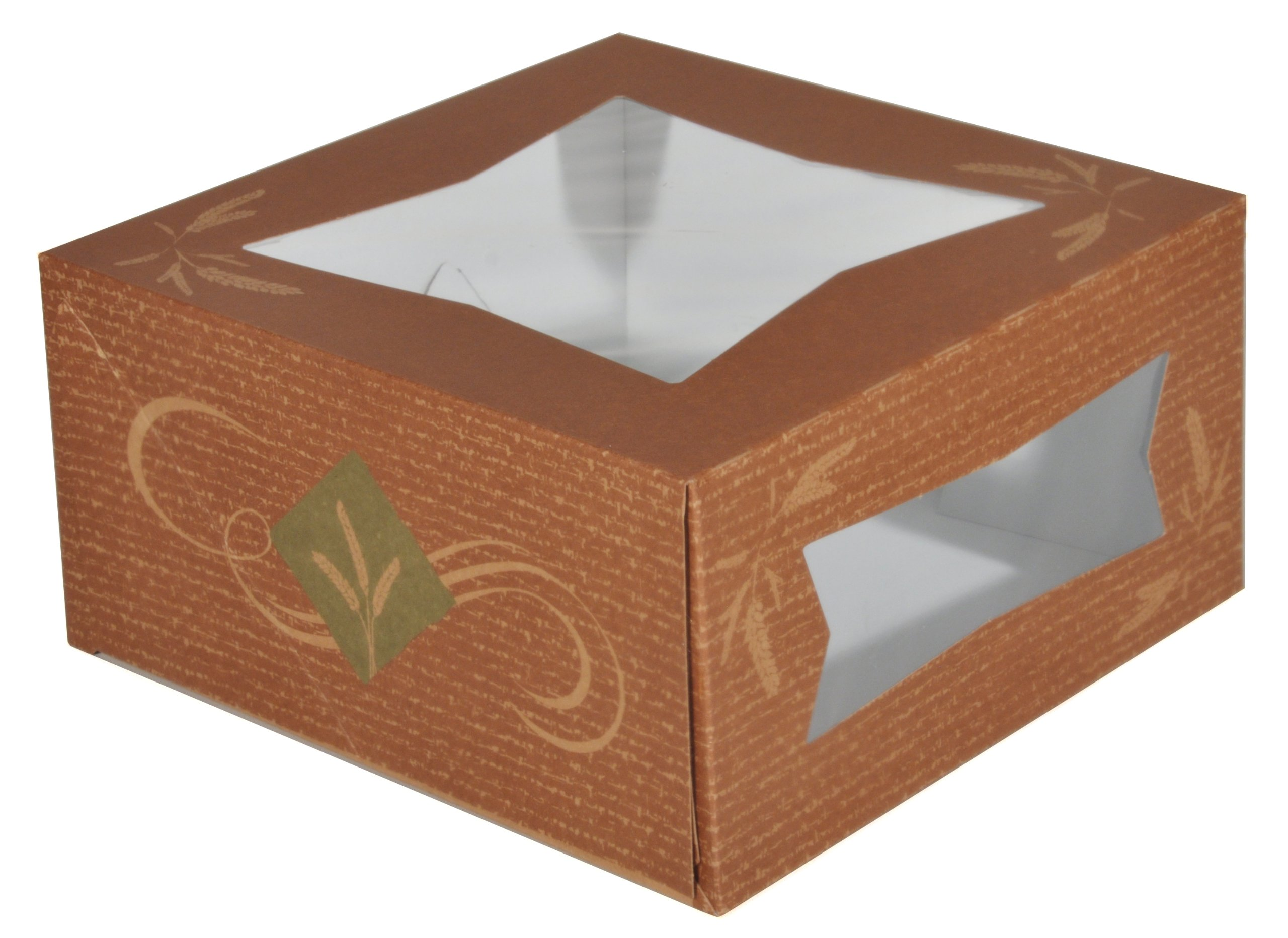 Southern Champion Tray 24056 Clay Coated Kraft Paperboard Hearthstone Window Bakery Box, 8'' Length x 8'' Width x 4'' Height (Case of 150)