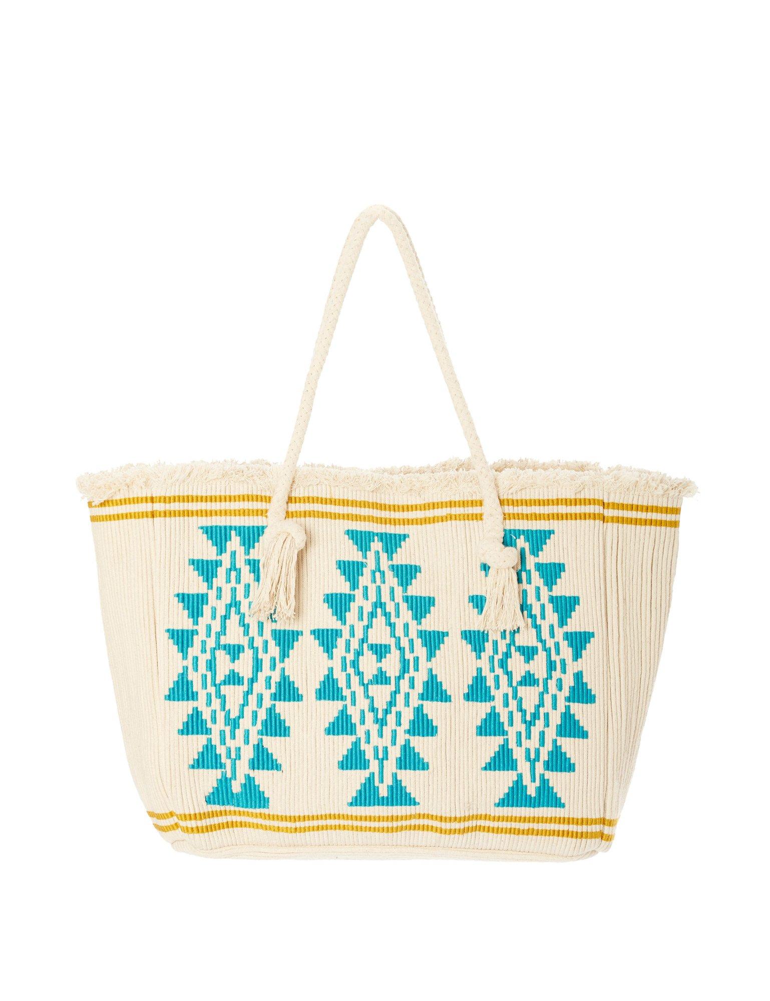 Star Mela Women's Io Women's Ivory-Turquoise Tote Beach Bag 100% Cotton