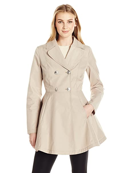 726f09bf8b7 Lark   Ro Women s Fit and Flare Trench Coat  Amazon.ca  Clothing ...