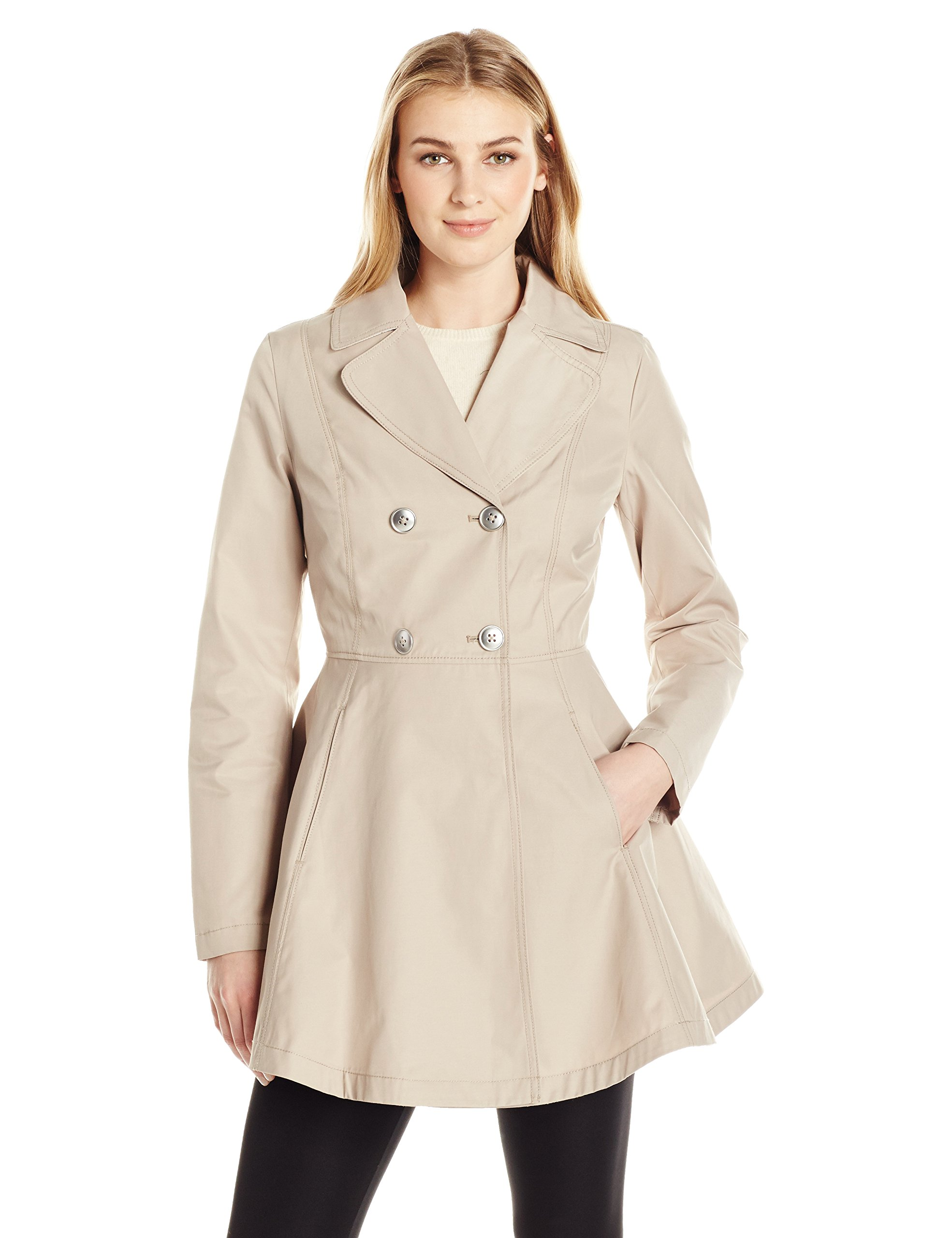 Lark & Ro Women's Fit and Flare Trench Coat, New Stone, XL