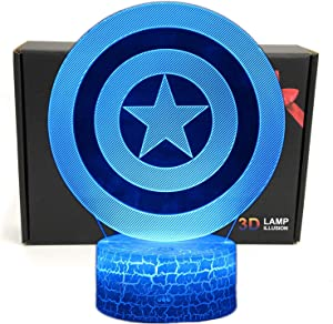 LED Superhero 3D Optical Illusion Smart 7 Colors Captain Night Light Table Lamp for Gifts with USB Power Cable