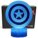 LED Superhero 3D Optical Illusion Smart 7 Colors Night Light Table Lamp with USB Power Cable (Captain America)