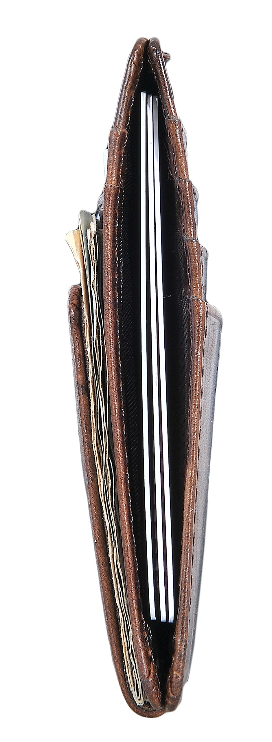 Mens Money Clip Wallet RFID Slim Wallet Genuine Leather Thin Front Pocket Wallet (Coffee (Oil Wax Leather)) by Yuhan Pretty (Image #4)