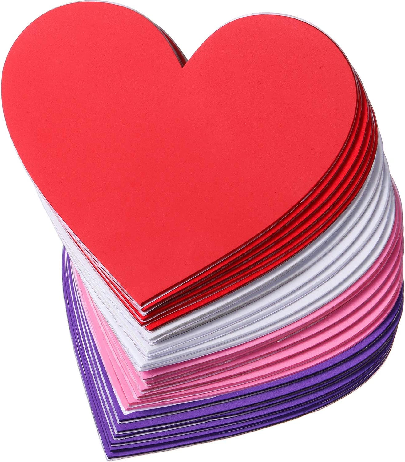 4 Colors 12 Pieces 6 Inches Foam Heart Stickers Festival Decoration Large Heart Shaped Stickers Self Adhesive Hearts Stickers for Valentines Day Mothers Day DIY Crafts Heart Stickers
